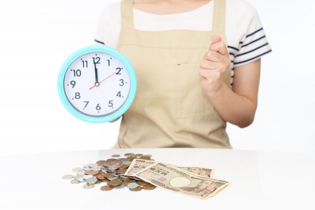 時計を持つ女性とお金