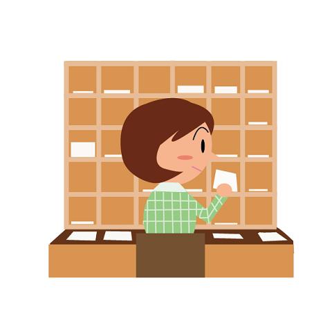 郵便局の仕分け作業